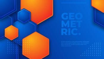 Blauw en oranje geometrisch zeshoekig patroon