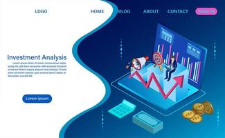 Investeringsanalyseconcept met golvende stijl vector