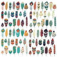 Collectie van boho vintage tribal etnische hand getekend kleurrijke veren vector