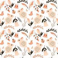 Naadloos patroon met konijnen, lieveheersbeestjes, vogels en bloemen vector