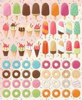 Enorme collectie desserts vector