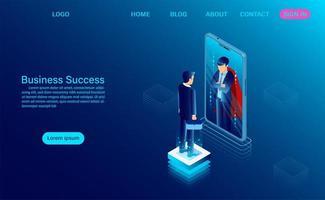 zakenman in spiegel kijken en het zien van een superheld
