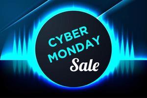 blauwe gloeiende cyber maandag banner met cirkelframe