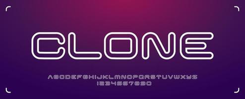 futuristisch afgerond lettertype in minimalistische stijl vector