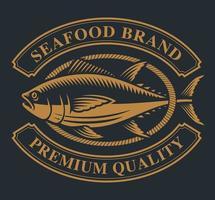 vintage label met een tonijn en touw vector