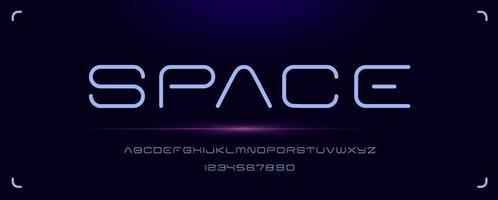 futuristische ruimte minimaal lettertype vector