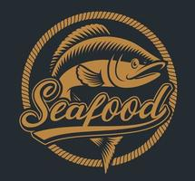 vintage illustratie van vis met touw frame vector