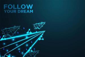 gloeiende vliegende papieren vliegtuigjes met volg je droomtekst