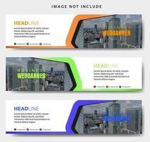 geometrische vorm kleurrijke horizontale banner set vector