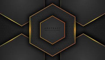 donkere 3d zeshoek achtergrond met oranje contouren