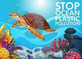 stop oceaan plastic vervuiling vector