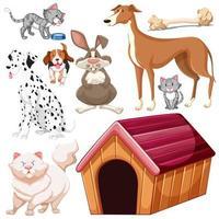 verzameling van geïsoleerde verschillende huisdieren vector