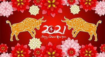 rode bloemen Chinees Nieuwjaar 2021 poster vector