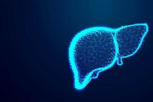 menselijke lever in abstract blauw polyontwerp