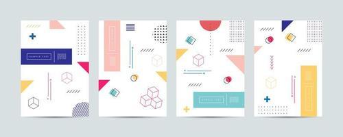 geometrische memphis voorbladsjabloon set