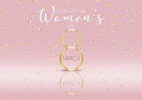 internationale vrouwendag achtergrond met gouden confetti