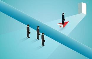 zakenlieden kruising klif op papier vliegtuig