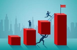 zakenlieden op grafiekelementen