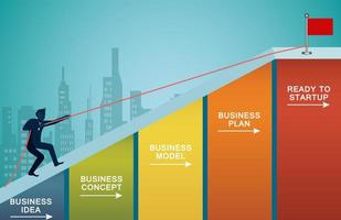 zakenman grafiek met touw klimmen