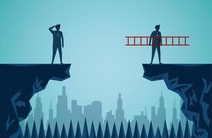 zakenlieden tegenover klif van elkaar