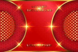 luxe rood en goud gloeiend cirkelontwerp