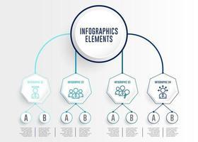 infographics instellen met verbonden cirkel en zeshoek