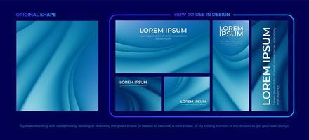 blauwe abstracte curvy patroon ontwerpset