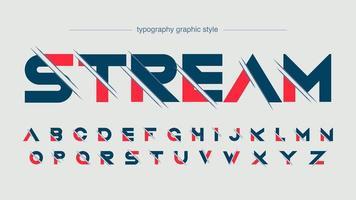 rood blauw futuristische sport lettertype vector