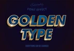 metallic goudblauw teksteffect vector
