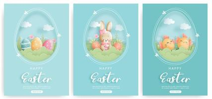Happy Easter card set met paashaas en paaseieren