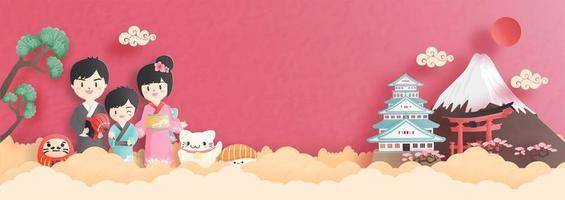 reizen collage met Japanse familie vector