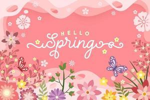 '' hallo lente '' bloemenposter