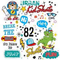 skateboard typografie patroon vector