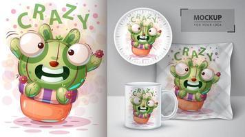 gekke konijn cactus ontwerp vector