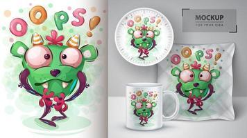 oops monster karakter poster vector