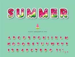 watermeloen zomer trendy lettertype vector
