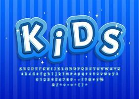 cartoon kind alfabet in blauw voor decoratie vector