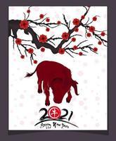 Jaar 2021 van de os-poster met tak en bloesems