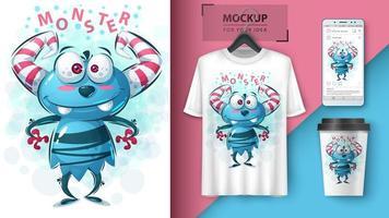 schattig blauw monster met hoorns ontwerp vector