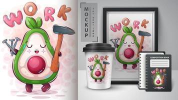 werk avocado-poster en merchandising vector