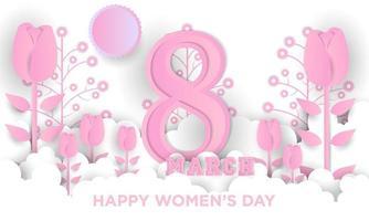 internationale vrouwendag papier kunst poster vector