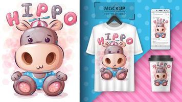 grappige teddy nijlpaard poster en merchandising vector