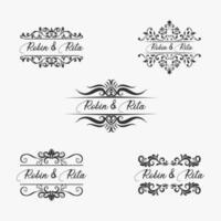 bruiloft uitnodiging naam grens set