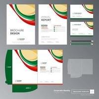rode en groene promotionele sjabloon folder set