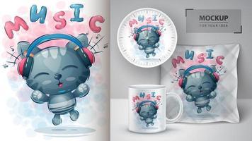 muziek kat poster en merchandising vector