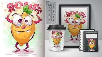 gekke citroenposter en merchandising vector