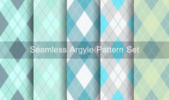 naadloze blauwe groene argyle patroon ingesteld vector