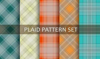 plaid verschillende kleurrijke patronen ingesteld vector