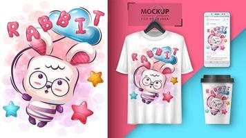teddy konijn poster en merchandising vector
