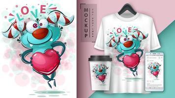 liefdesmonster met hart poster vector